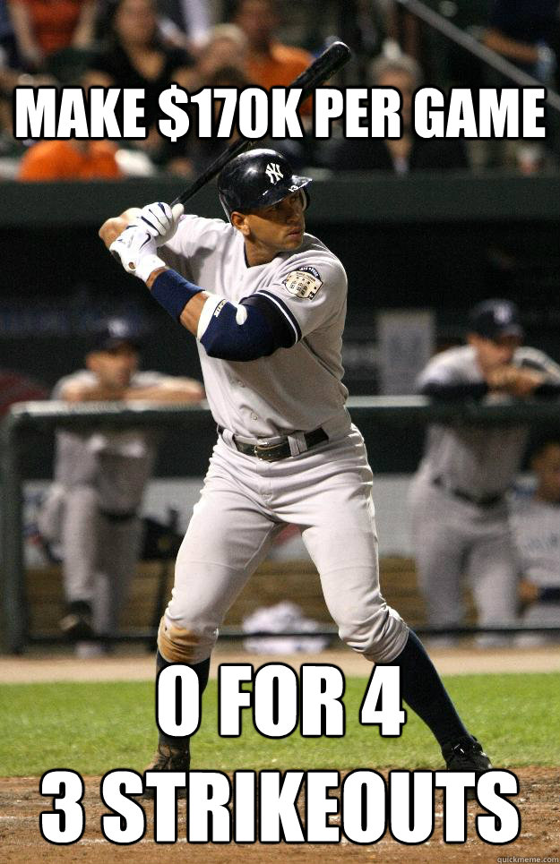 make $170k per game 0 for 4 3 strikeouts  A-rod