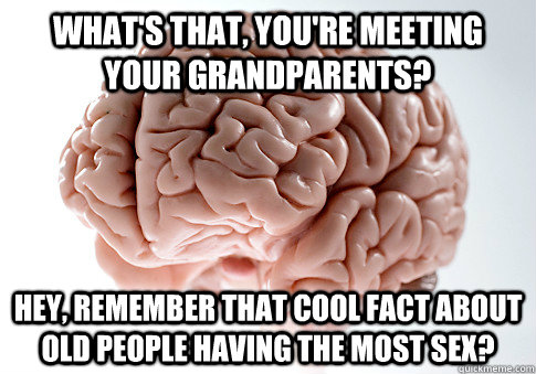 What's that, you're meeting your grandparents? Hey, remember that cool fact about old people having the most sex? - What's that, you're meeting your grandparents? Hey, remember that cool fact about old people having the most sex?  Scumbag Brain