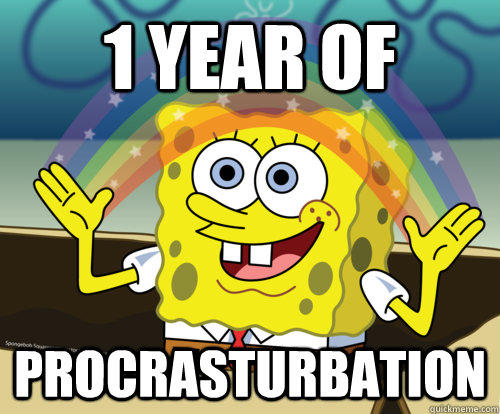 1 YEAR OF  PROCRASTURBATION  Spongebob rainbow