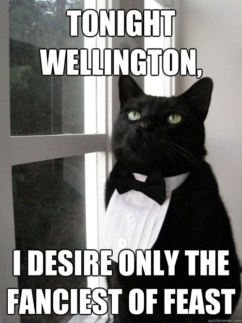 Tonight Wellington, i desire only the fanciest of feast  - Tonight Wellington, i desire only the fanciest of feast   One Percent Cat