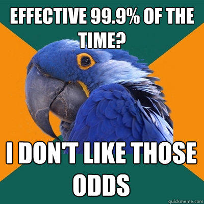 Effective 99.9% of the time? I don't like those odds - Effective 99.9% of the time? I don't like those odds  Paranoid Parrot