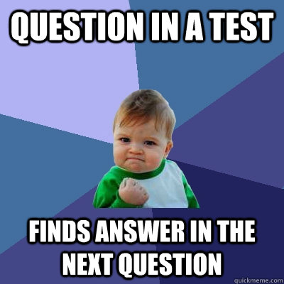 Question in a test finds answer in the next question  Success Kid