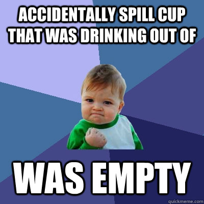 Accidentally spill cup that was drinking out of was empty - Accidentally spill cup that was drinking out of was empty  Success Kid
