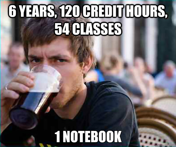 6 years, 120 credit hours, 54 classes 1 notebook - 6 years, 120 credit hours, 54 classes 1 notebook  Lazy College Senior