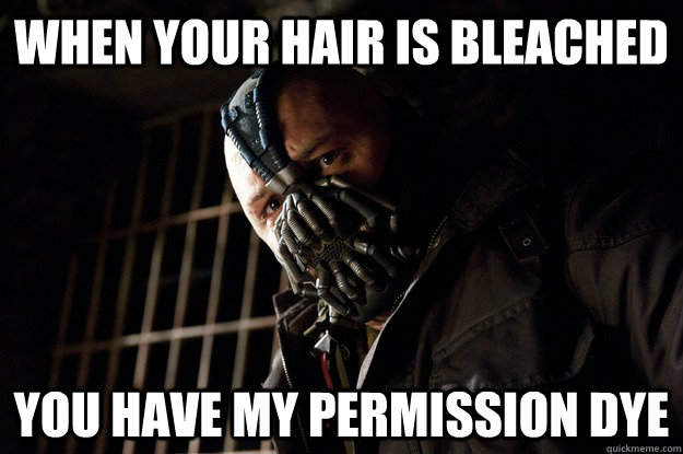 When your hair is bleached you have my permission dye - When your hair is bleached you have my permission dye  Angry Bane