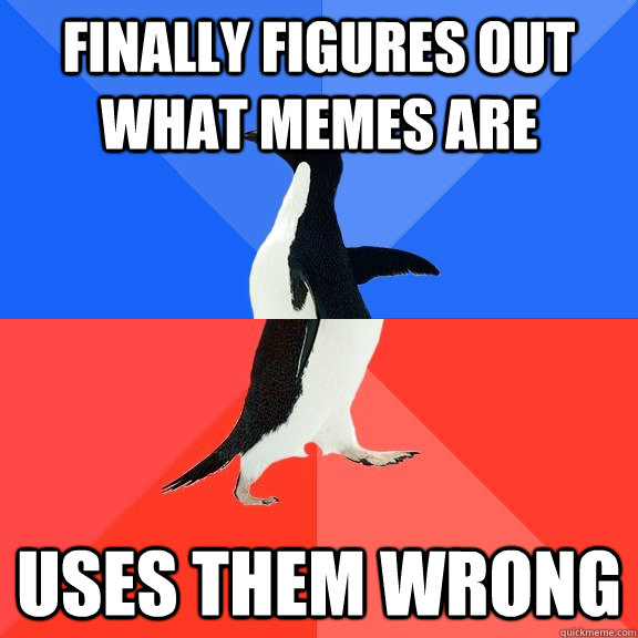 Finally figures out what memes are Uses them wrong - Finally figures out what memes are Uses them wrong  Socially Awkward Awesome Penguin