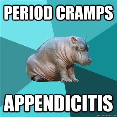 Period Cramps APPENDICITIS  Hypochondriac Hippo