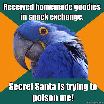 Received homemade goodies in snack exchange. Secret Santa is trying to poison me! - Received homemade goodies in snack exchange. Secret Santa is trying to poison me!  Paranoid Parrot
