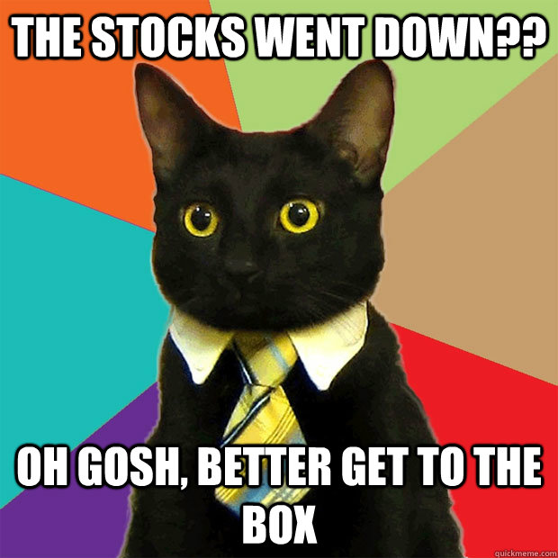 The stocks went down?? oh gosh, better get to the box - The stocks went down?? oh gosh, better get to the box  Business Cat