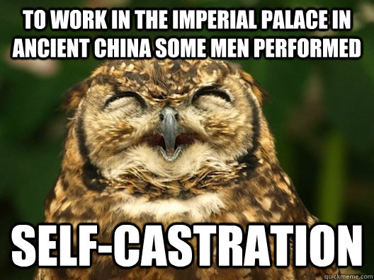 to work in the imperial palace in ancient china some men performed self-castration