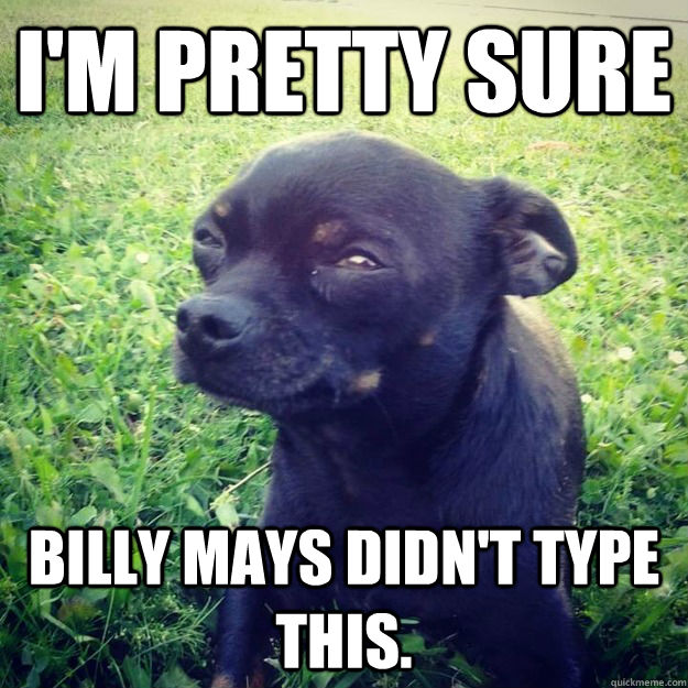 I'm pretty sure Billy mays didn't type this.  - I'm pretty sure Billy mays didn't type this.   Skeptical Dog