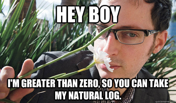 Hey Boy I'm greater than zero, so you can take my natural log.