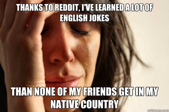 THANKS TO REDDIT, I'VE LEARNED A LOT OF ENGLISH JOKES THAN NONE OF MY FRIENDS GET IN MY NATIVE COUNTRY - THANKS TO REDDIT, I'VE LEARNED A LOT OF ENGLISH JOKES THAN NONE OF MY FRIENDS GET IN MY NATIVE COUNTRY  First World Problems