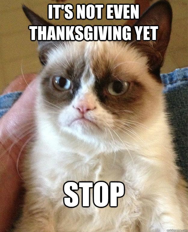 It's not even Thanksgiving yet STOP  Grumpy Cat