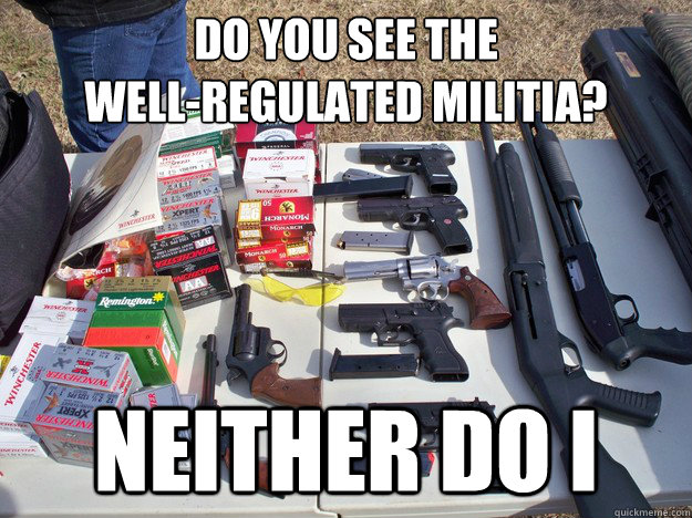 do you see the  well-regulated militia? neither do i - do you see the  well-regulated militia? neither do i  wheres the militia