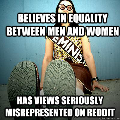 believes in equality between men and women has views seriously misrepresented on Reddit