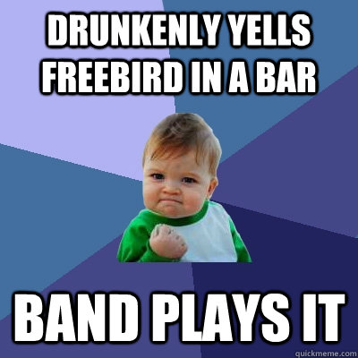 Drunkenly yells FREEBIRD in a bar band plays it - Drunkenly yells FREEBIRD in a bar band plays it  Success Kid