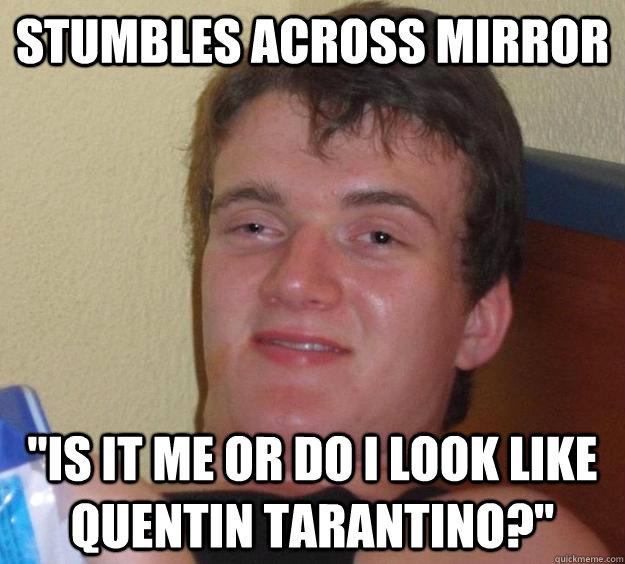 Stumbles across mirror