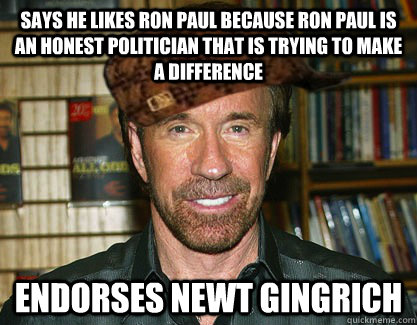 Says he likes Ron Paul because Ron Paul is an honest politician that is trying to make a difference Endorses Newt Gingrich