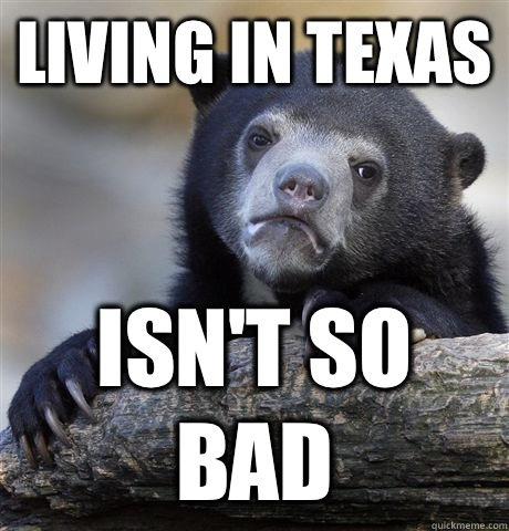 Living in Texas Isn't so bad - Living in Texas Isn't so bad  Confession Bear