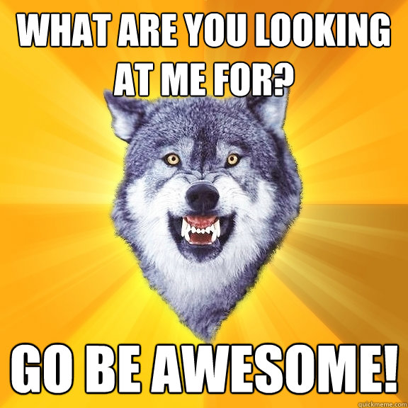 What are you looking at me for? Go be awesome! - What are you looking at me for? Go be awesome!  Courage Wolf