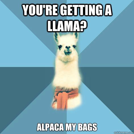 You're getting a Llama? Alpaca my bags - You're getting a Llama? Alpaca my bags  Linguist Llama