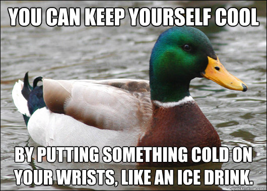 You can keep yourself cool by putting something cold on your wrists, like an ice drink. - You can keep yourself cool by putting something cold on your wrists, like an ice drink.  Actual Advice Mallard