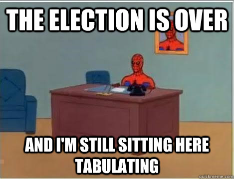 the election is over and i'm still sitting here tabulating - the election is over and i'm still sitting here tabulating  Spiderman Desk