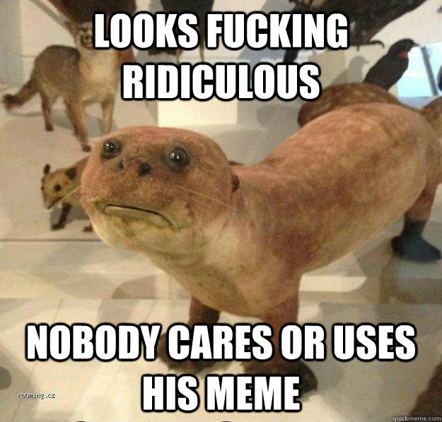 looks fucking ridiculous nobody cares or uses his meme  betrayed otter