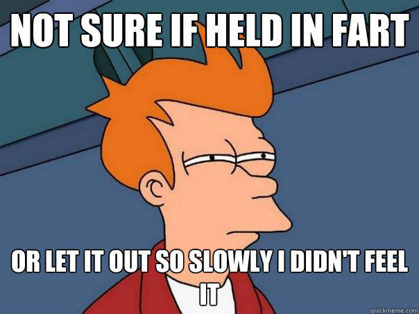 Not sure if held in fart or let it out so slowly i didn't feel it - Not sure if held in fart or let it out so slowly i didn't feel it  Futurama Fry