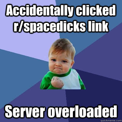 Accidentally clicked r/spacedicks link Server overloaded  Success Kid