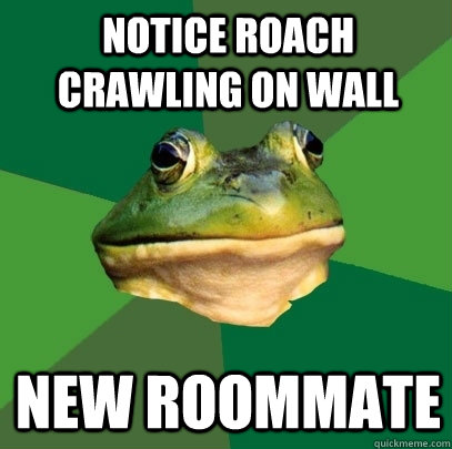 Notice roach crawling on wall New roommate - Notice roach crawling on wall New roommate  Foul Bachelor Frog