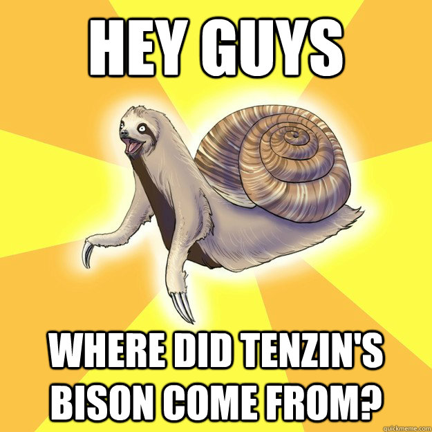 HEY GUYS WHERE DID TENZIN'S BISON COME FROM?