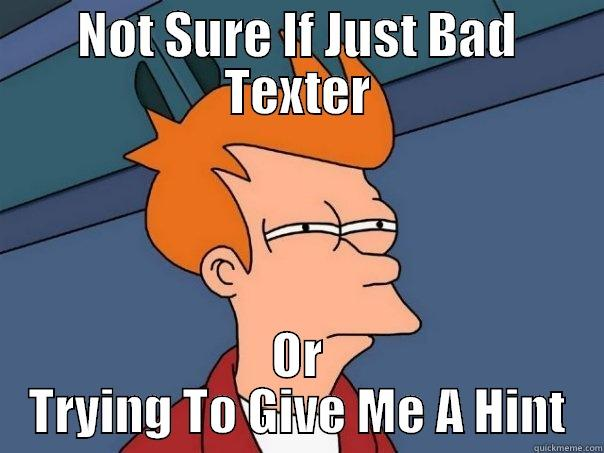 Slow Texter - NOT SURE IF JUST BAD TEXTER OR TRYING TO GIVE ME A HINT Futurama Fry