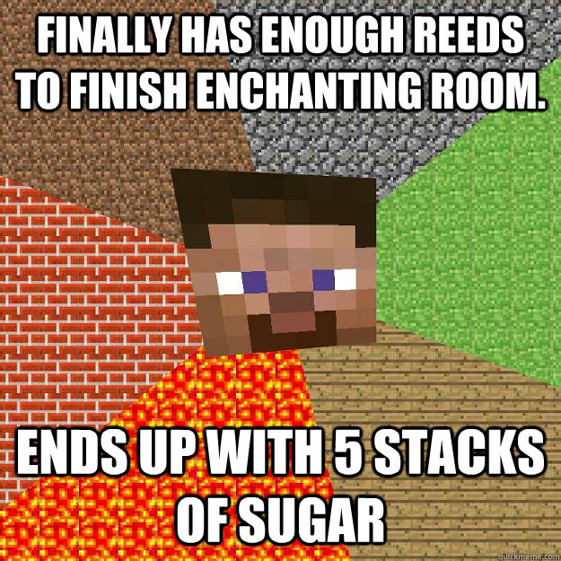 Finally has enough reeds to finish enchanting room. Ends up with 5 stacks of sugar  Minecraft