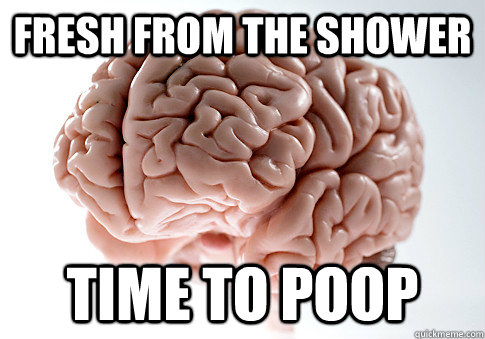 Fresh from the shower Time to Poop - Fresh from the shower Time to Poop  Scumbag Brain