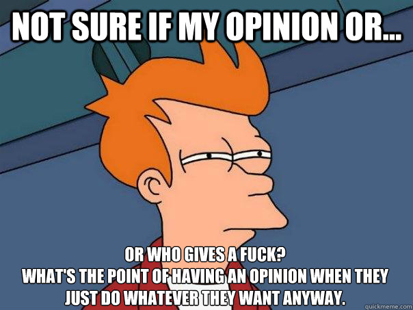 Not sure if my opinion or... or who gives a fuck?  What's the point of having an opinion when they just do whatever they want anyway. - Not sure if my opinion or... or who gives a fuck?  What's the point of having an opinion when they just do whatever they want anyway.  Futurama Fry