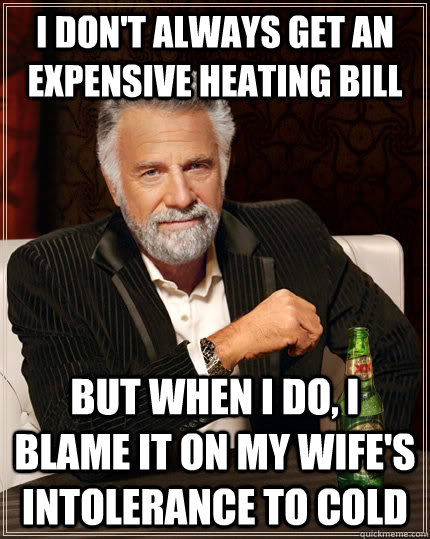 I don't always get an expensive heating bill but when I do, i blame it on my wife's intolerance to cold - I don't always get an expensive heating bill but when I do, i blame it on my wife's intolerance to cold  The Most Interesting Man In The World