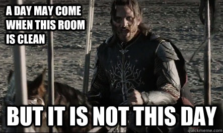A day may come when this room is clean But it is not this day - A day may come when this room is clean But it is not this day  Not This Day Aragorn