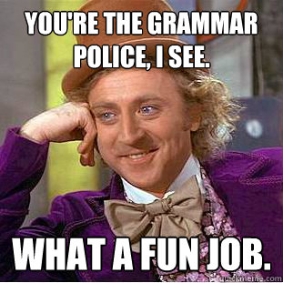 You're the grammar police, I see. What a fun job.  - You're the grammar police, I see. What a fun job.   Condescending Wonka