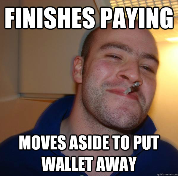 finishes paying moves aside to put wallet away - finishes paying moves aside to put wallet away  Misc