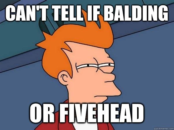 85a8c1139387a97beb96af51fa3cd26e3342b32289f7ac156a1b89015a0f414d can't tell if balding or fivehead futurama fry quickmeme