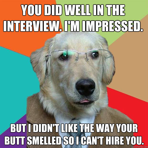 You did well in the interview. I'm impressed. But I didn't like the way your butt smelled so I can't hire you. - You did well in the interview. I'm impressed. But I didn't like the way your butt smelled so I can't hire you.  Business Dog