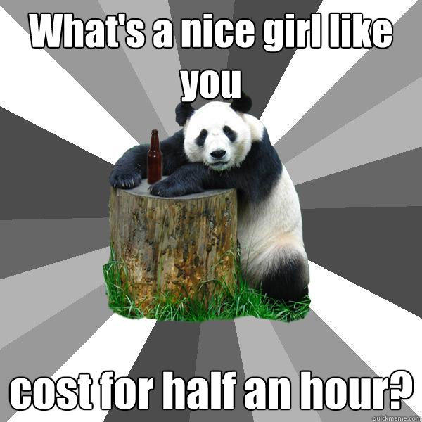 What's a nice girl like you cost for half an hour? - What's a nice girl like you cost for half an hour?  Pickup-Line Panda