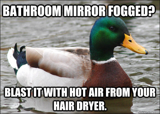 Bathroom mirror fogged? blast it with hot air from your hair dryer. - Bathroom mirror fogged? blast it with hot air from your hair dryer.  Actual Advice Mallard