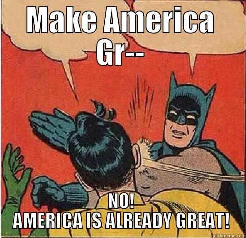 MAKE AMERICA GR-- NO! AMERICA IS ALREADY GREAT! Batman Slapping Robin