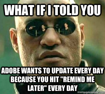 What if I told you  adobe wants to update every day because you hit
