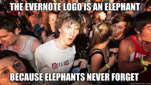 The Evernote logo is an elephant because elephants never forget - The Evernote logo is an elephant because elephants never forget  Sudden Clarity Clarence