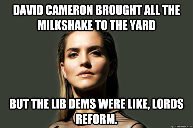 David Cameron brought all the milkshake to the yard But the Lib Dems were like, Lords Reform.