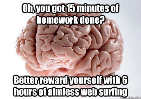 Oh, you got 15 minutes of homework done? Better reward yourself with 6 hours of aimless web surfing  - Oh, you got 15 minutes of homework done? Better reward yourself with 6 hours of aimless web surfing   Scumbag Brain